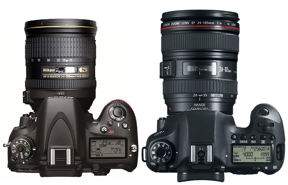 Máy ảnh canon 6D và Nikon D610