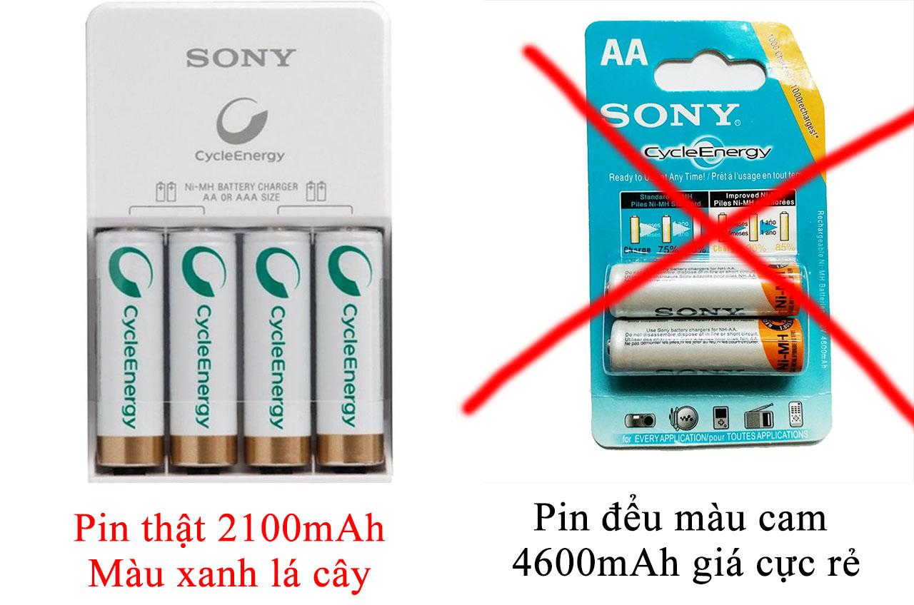Pin sạc Sony thật và giả